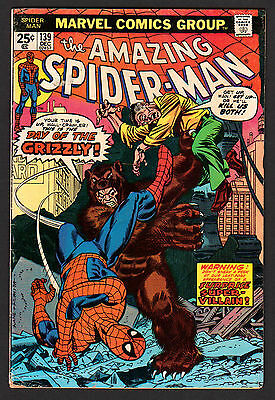 AMAZING SPIDER-MAN #139 BRONZE AGE MARVEL DEC 1974 1st GRIZZLY appearance