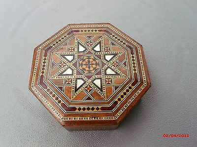 "Lovely Octagonal Inlay/inlaid Box 5 7/8"" X  1 3/4"" ~Hinged-Lined"