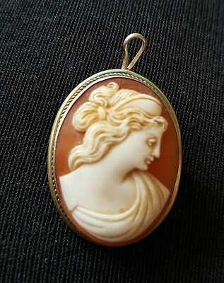 Antique Silver Carved Shell Cameo Brooch/pendant,beautiful Classical Profile...
