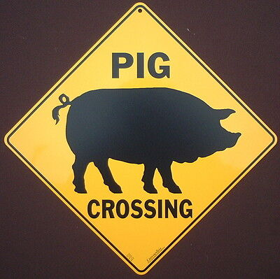 PIG CROSSING SIGN aluminum silhouette pigs decor  home signs novelty animals art