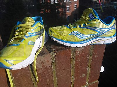 Ladies Trainers Saucony Kinvara 4 Running Shoes Size Uk 5.5 Yellow & Blue