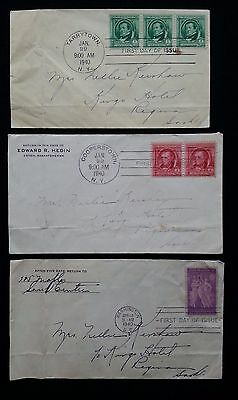 3 USA FDC 1st DAY COVERS 1940 COOPERSTOWN, TARRYTOWN & WASHINGTON TO CANADA