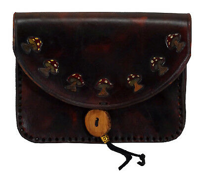 Brown Red Mushroom Tobacco Belt Pouch Coin Purse Hand Made Tooled Leather LARP
