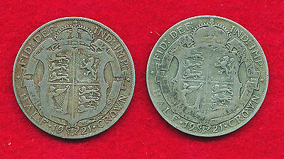 Great Britain 1921 1/2 CROWN (2 Coins)  SILVER!