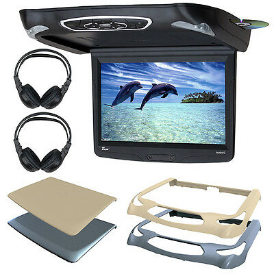 "Tview T141DVFD 14.1"" Overhead Monitor w/DVD, 3 Color Skins & 2 Headphone Sets"
