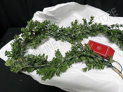 Pottery Barn Christmas Holiday Lit Clear Lights Faux Boxwood Mantel Garland 5'