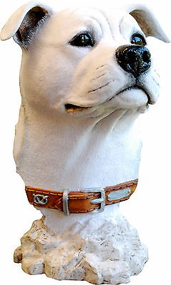 WHITE STAFFY SCULPTURE STAFFORDERSHIRE BULL TERRIER ORNAMENT GIFT Save £20.00