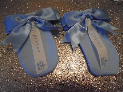 romany gypsy BABy BOY PALE BLUE MY PRINCE CROWN MITTENS 0-6month SATIN BOW