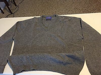 Mens Pendleton V Neck Sweater Size XL Lambs Wool Country Traditionals Grey