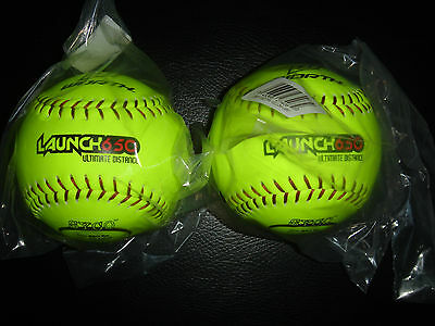 "2) Worth 12"" Launch 650 Ultimate Distance Men's Slowpitch Softballs Yellow L650Y"