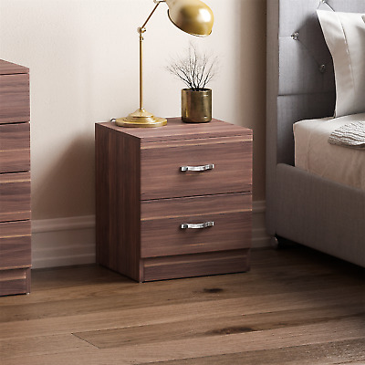 Riano Bedside Cabinet Walnut 2 Drawer Metal Handles Runners Bedroom Furniture