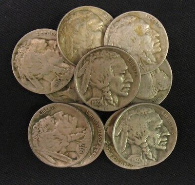 10 Full Date Old American Buffalo Nickel Lot Collection Rare US Coins (v10030AD