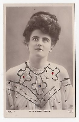 MORYSS CLARK English Edwardian Stage Actress Rapid RPPC with Glitter highlights