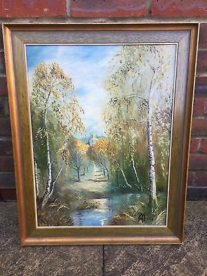 Beautiful Landscape Oil Painting On Canvas - Dated 1903