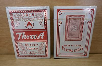 2 DECKS RED THREE A PLASTIC COATED PLAYING CARDS No.3018 POKER SIZE NEW SEALED