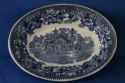 """Antique 19Th Century Blue And White Staffordshire England """"avon Cottage"""" Dish"""