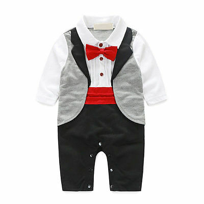 1PC Baby Boy Formal Party Wedding Tuxedo Waistcoat Grey Outfit Suit 0-24 Months