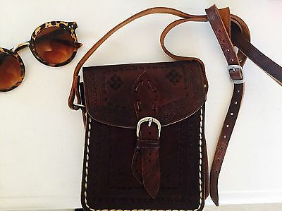 Vintage Leather Bag With Embroidery And Embossed Leather
