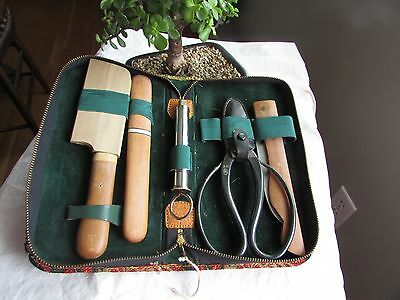 VINTAGE JAPANESE GARDENING BONSAI TOOLS in Case - SHEARS PRUNER CUTTER AND MORE