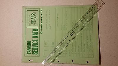 Yamaha Rd250 1974 Genuine Service Data Sheet ( 7 Pages )