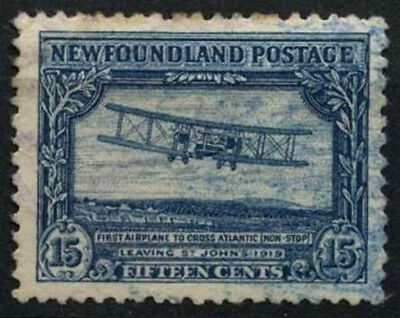 Newfoundland 1929-31 SG#186, 15c Blue Vickers VImy Aircraft Used Cat £100#D44626
