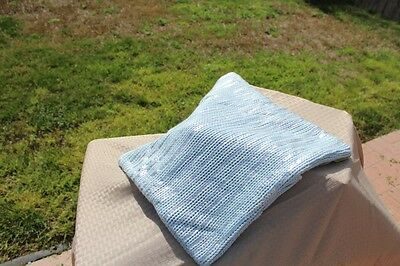 Pottery Barn Teen Light blue Knit Silver Striped Pillow Cover