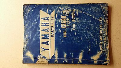 Yamaha, Parts list book catalogue diagrams, XS500 1976 Type 1H2