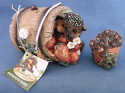Bramble & Clover Two Hedgehogs Strawberries Ornament Figurines Innovation Tag