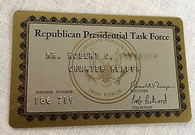 Republican Presidential Task Force ID Card Ronald Reagan Administration 1981-89