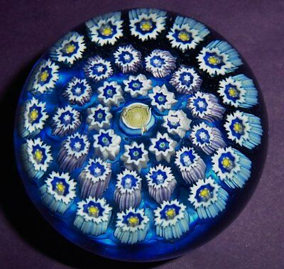 """Perthshire John Deacons """"turquoise Concentric Rose Millefiori"""" Paperweight"""