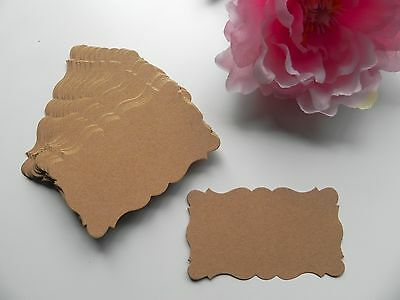 100 DEEP KRAFT Ornate Rectangle Labels / Gift Tags / Favor Tags Blank Cards