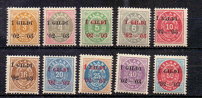 ICELAND 1902-03 GILDI PERF 12½ TO 50c ( 10 ) MH