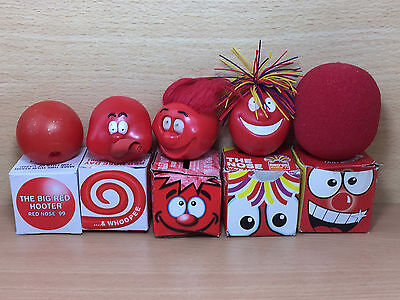 Rare Red Nose Day Comic Relief noses - 1999,2001,2003,2005,2007 boxed - Ref #11