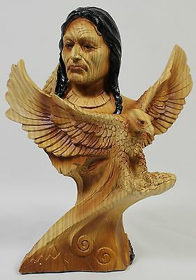NATIVE AMERICAN & BALD EAGLE FAUX WOOD CARVING Figurine Statue Indian West NEW
