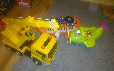 Toy truck, plane and keyboard