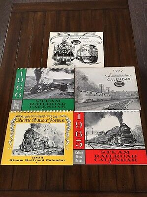 Lot Of 5 Railroad Calendars From 60's And 70's