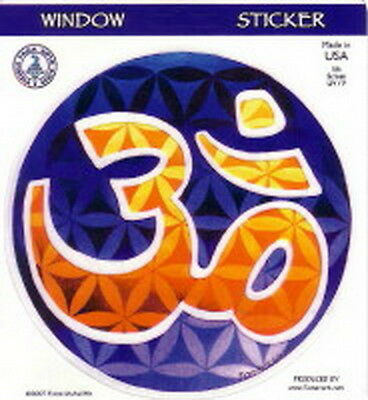 STICKER - FLOWER OF LIFE OM - DECAL 115mm Wicca Witch Pagan