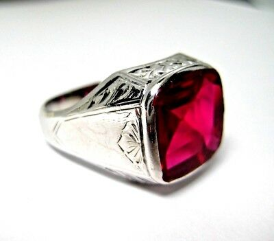 Vintage 14K White Gold Mens Ring Bright Red Synthetic Ruby Stone  Size 11  11.2g