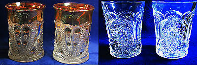 c1910 Cambridge Glass EAPG 2631 Marjorie or Dotted Loop 2 Tumblers Pressed Glass