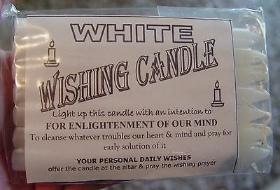 7 x WHITE - SPELL WORK  - WISHING CANDLES 14cm Wicca  Witch Pagan Goth Ritual