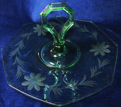 1930S Centre Handle Octagonal Forest Green Glass Cake Plate Tidbit Tray Etched