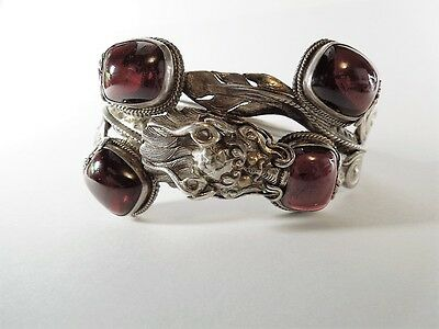 Antique Vintage Asian Chinese Sterling Silver Bracelet Amber Dragon