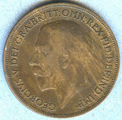 1916 Great Britain One Penny Coin - very good