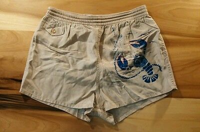 Vintage 40's 50's Swim Trunks Lamb Knit Lobster Surf Beach Ocean Nautical