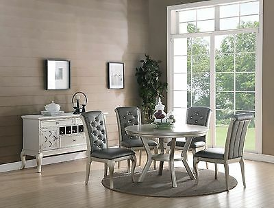Traditional 5pc Dining Set Dining Table Chairs Silver Finish