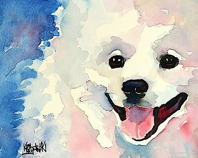 American Eskimo Dog 11x14 art PRINT from painting, Eskie Gifts, Poster, Picture