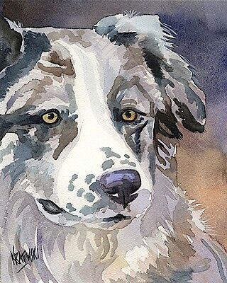 Australian Shepherd Dog 11x14 signed art PRINT painting