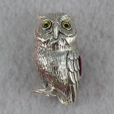 Novelty Sterling Silver Owl Pin Cushion With Glass Eyes
