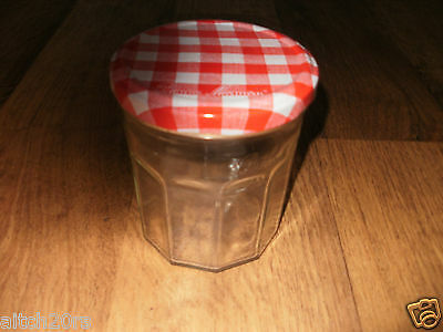 Glass Jar-Red/white Chequered Lid-Homemade Preserves Jam Pickles Container