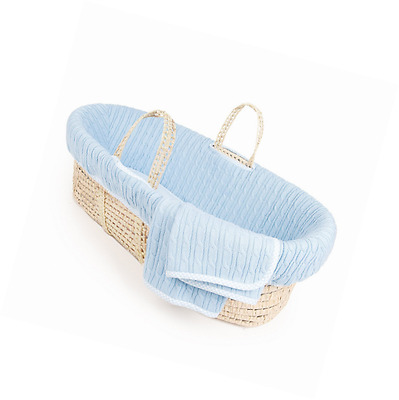 Tadpoles Cable Knit Moses Basket and Bedding Set, Blue